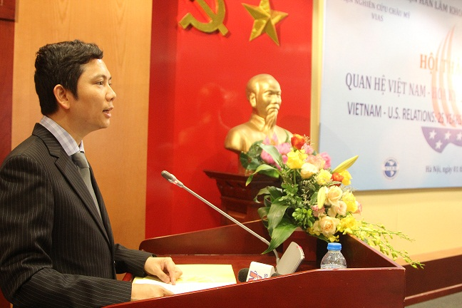 Assoc.Prof.Dr. Bui Nhat Quang, President of the Academy, made an opening speech at the Workshop