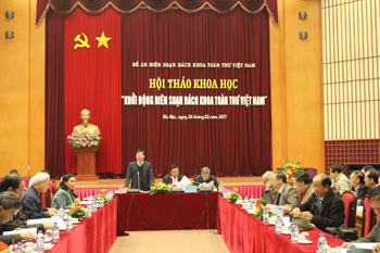 Prof., Dr. Nguyen Quang Thuan, Vice Chairman of the National Steering Board, cum President of VASS,<br> was speaking at the conference