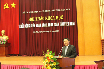 Prof., Dr. Nguyen Xuan Thang, member of the Central Committee of the Communist Party of Vietnam, Permanent Vice Chairman of the National Steering Board, Head of the Project, President of Ho Chi Minh National Academy of Politics, was delivering his speech to the conference